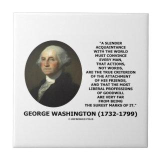 Las palabras de las acciones de George Washington Azulejo Ceramica