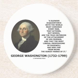 Las palabras de las acciones de George Washington Posavasos Cerveza