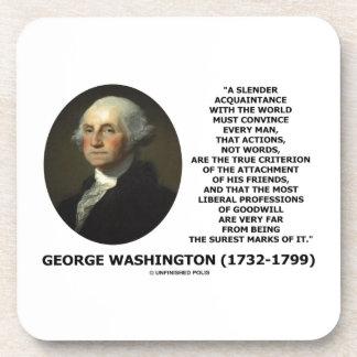 Las palabras de las acciones de George Washington Posavasos De Bebidas