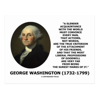Las palabras de las acciones de George Washington Postales