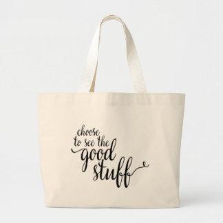 Las palabras - elija ver el buen material bolsa de tela grande