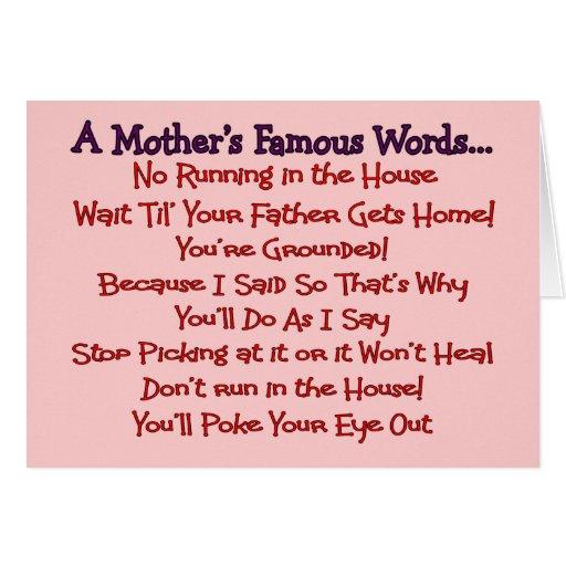 Las palabras famosas de la madre--Regalos del día  Tarjetas