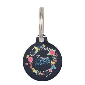 las palabras florales vibrantes femeninas de la placas para mascotas