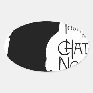 Las palabras francesas del gato negro de Halloween Pegatina Oval