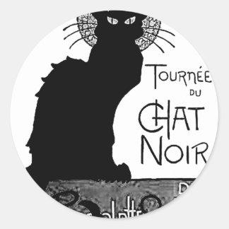 Las palabras francesas del gato negro de Halloween Etiqueta Redonda