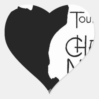 Las palabras francesas del gato negro de Halloween Pegatina En Forma De Corazón