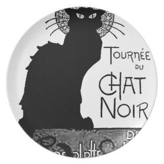Las palabras francesas del gato negro de Halloween Plato