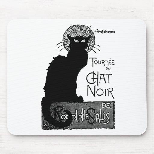 Las palabras francesas del gato negro de Halloween Tapete De Raton