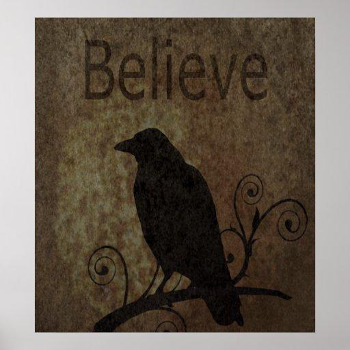 Las palabras inspiradas creen con el cuervo del vi póster