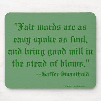 """Las """"palabras justas son rayo tan fácil como asque alfombrillas de ratón"""