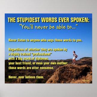Las palabras más estúpidas habladas nunca - de póster