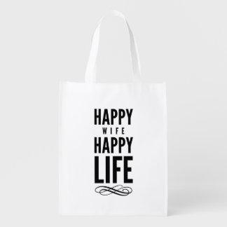 Las palabras sabias de la esposa feliz citan blanc bolsa reutilizable