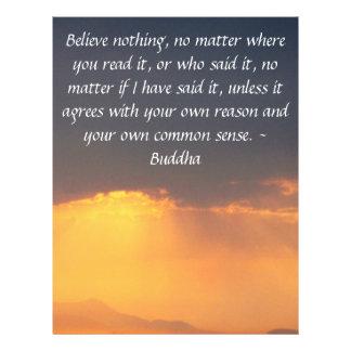 Las palabras sabias de la sabiduría del Buda citan Membrete A Diseño