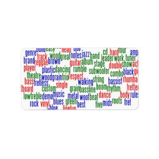 Las palabras se relacionaron con jugar el bajo, ve etiquetas de dirección