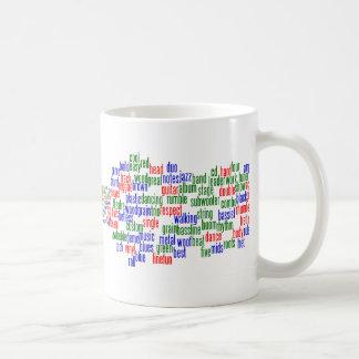 Las palabras se relacionaron con jugar el bajo, ve taza básica blanca