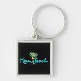 Las palmas de Miami Beach, la Florida refrescan Llavero Cuadrado Plateado