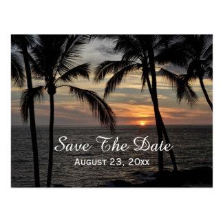 Las palmeras ahorran el boda del destino de la tarjeta postal