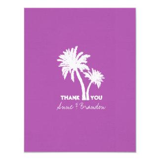 """Las palmeras púrpuras simples le agradecen nota invitación 4.25"""" x 5.5"""""""