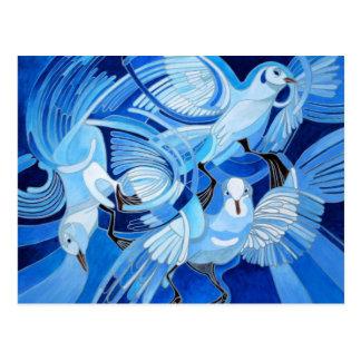 Las palomas de Muge en azul Postal
