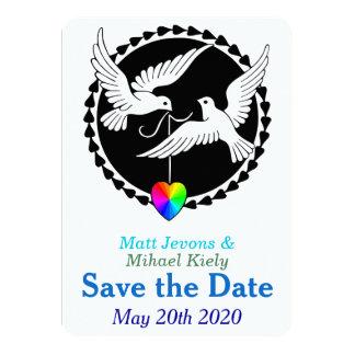 Las palomas del amor del corazón del arco iris invitación 11,4 x 15,8 cm