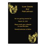 Las palomas del oro en el boda negro ahorran la invitación 12,7 x 17,8 cm