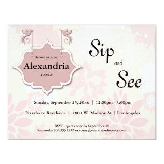 """Las palomas y el sorbo floral del rosa y ven al invitación 4.25"""" x 5.5"""""""