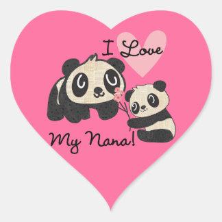 Las pandas I aman a mi Nana Pegatina En Forma De Corazón