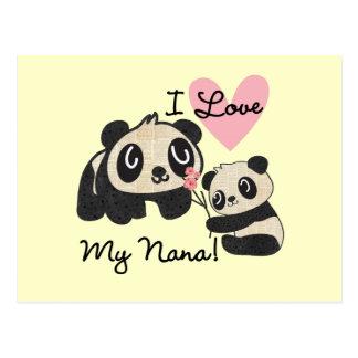 Las pandas I aman a mi Nana Tarjeta Postal