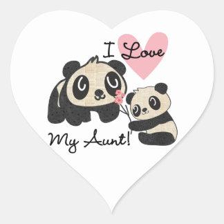 Las pandas I aman a mi tía Pegatina En Forma De Corazón