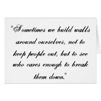 Las paredes de la amistad tarjeta de felicitación