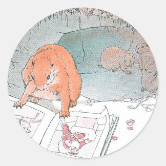 Las patas del arroz leen un libro ilustrado pegatina redonda