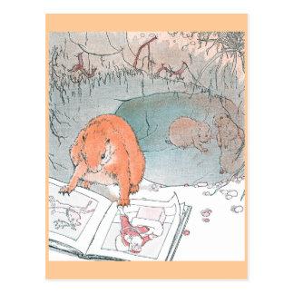 Las patas del arroz leen un libro ilustrado postales