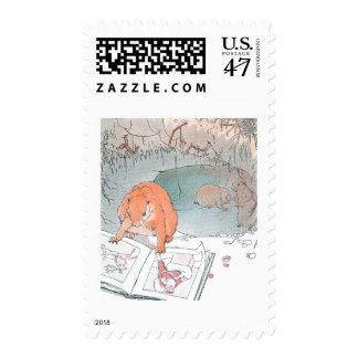Las patas del arroz leen un libro ilustrado sellos