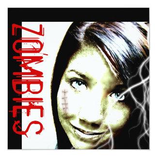 """Las películas del zombi invitan con el chica invitación 5.25"""" x 5.25"""""""