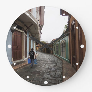 Las Penas-Water Carrier - Cobblestone Road-Ecuador Large Clock