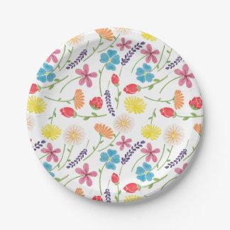 Las pequeñas flores coloridas dulces plato de papel 17,78 cm