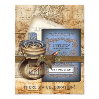 Las pequeñas invitaciones del fiesta del viajero invitación 10,8 x 13,9 cm
