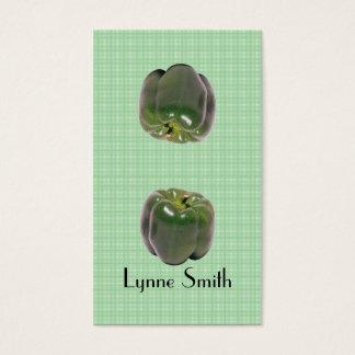 Las pequeñas pimientas verdes marcan una dirección tarjetas de visita