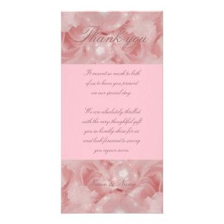 Las perlas color de rosa rosadas le agradecen card tarjeta personal con foto