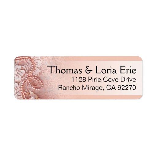Las perlas y atan rosa del peony del | etiqueta de remite
