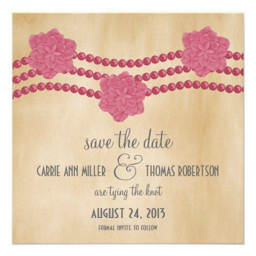 Las perlas y las flores ahorran la fecha invitan,  invitación