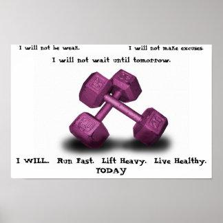 Las pesas de gimnasia rosadas viven poster sano