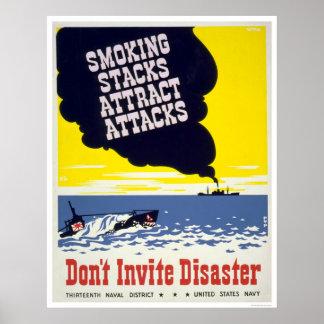 Las pilas que fuman atraen los ataques - WPA Póster