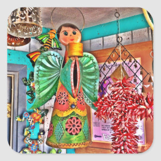 Las pimientas de chile colgantes del arte del pegatina cuadrada