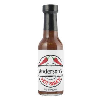 Las pimientas de chile rojo personalizaron la salsa picante