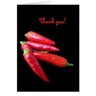 Las pimientas del chile picante le agradecen tarjeta pequeña