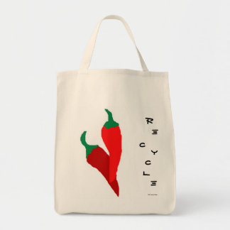 Las pimientas del chile picante reciclan el bolso  bolsa