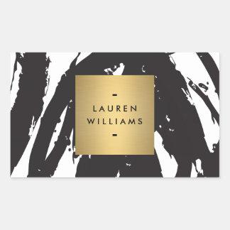 Las pinceladas negras abstractas personalizaron a pegatina rectangular