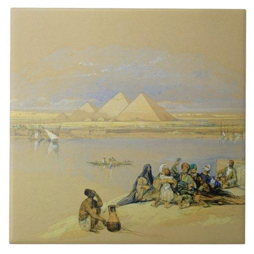 Las pirámides en Giza, cerca de El Cairo (w/c) Tejas