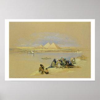 Las pirámides en Giza, cerca de El Cairo (w/c) Póster